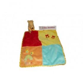 Accueil Disney doudou Disney Ours Patchwork mouchoir carreaux abeille jaune bleu orange Winnie l'ourson Plat
